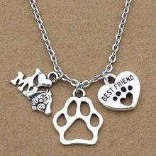 Hot Sale Ancient Silver I Love My Dogs&Dog Paw Print&Best Friend Heart Charm Pendant Necklace Men And Women Fashion Jewelry Gift new i love football fencing helmet charm pendant necklace alloy ancient silver fashion women
