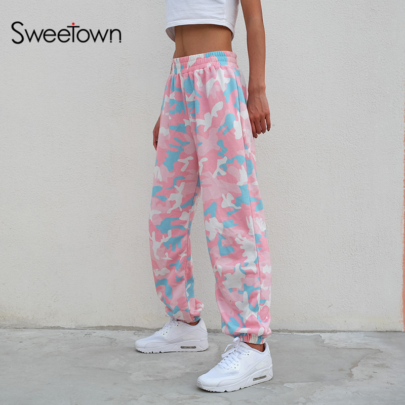 Sweetown Women 2018 Fashion Brand Pantalon Femme Pink Camouflage Sweatpants Knitted Womens Trousers Casual Loose Lady Pants