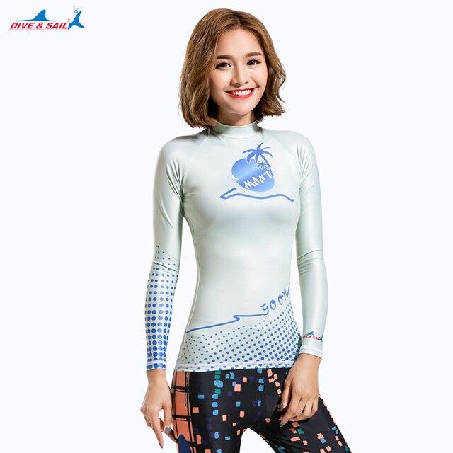 b0c8b7bb US $7.5 25% OFF|2017 kobiet Slim fit strój kąpielowy Rashguard kobieta z  długim rękawem pływanie Surfing koszulka plażowa słońce ochrona UV ...