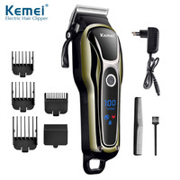 Kemei Hair Trimmer Cordless Electric Trimmer Rechargeable Hair Cutter Machine Professional LCD Display Hair Clipper KM 1990 38D