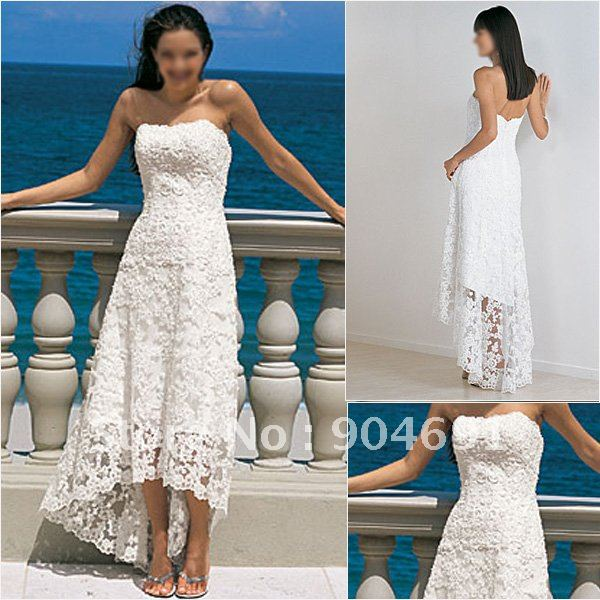 c795551793e High Quality Ivory White Lace Bridal Dress Strapless Beach Wedding Dress  High-Low Short Bridal Evening Gown Sz 2 4 6 8 10 12 14+