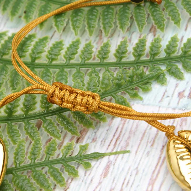 ムーンガールナチュラルゴールド Cowrie チャームブレスレットファッションユニークな手作り樹脂自由奔放に生きるシックな親友 Beacelet 女性のためのドロップシッピング