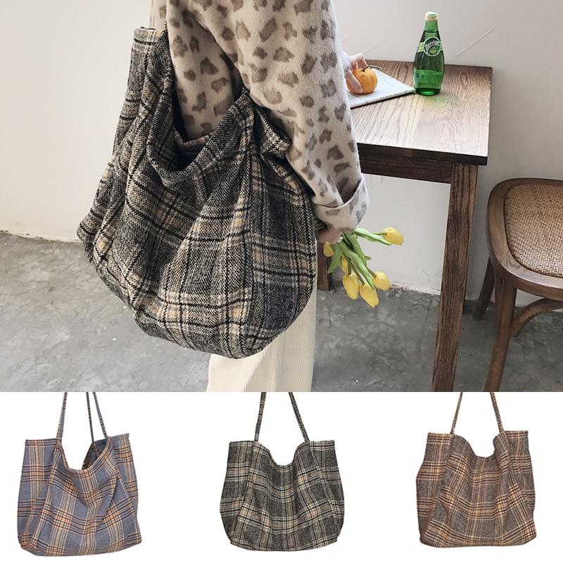 Handbag Ladies Bags Shoulder-Bag Canvas Big Tote Plaid Scottish-Pattern Large-Capacity