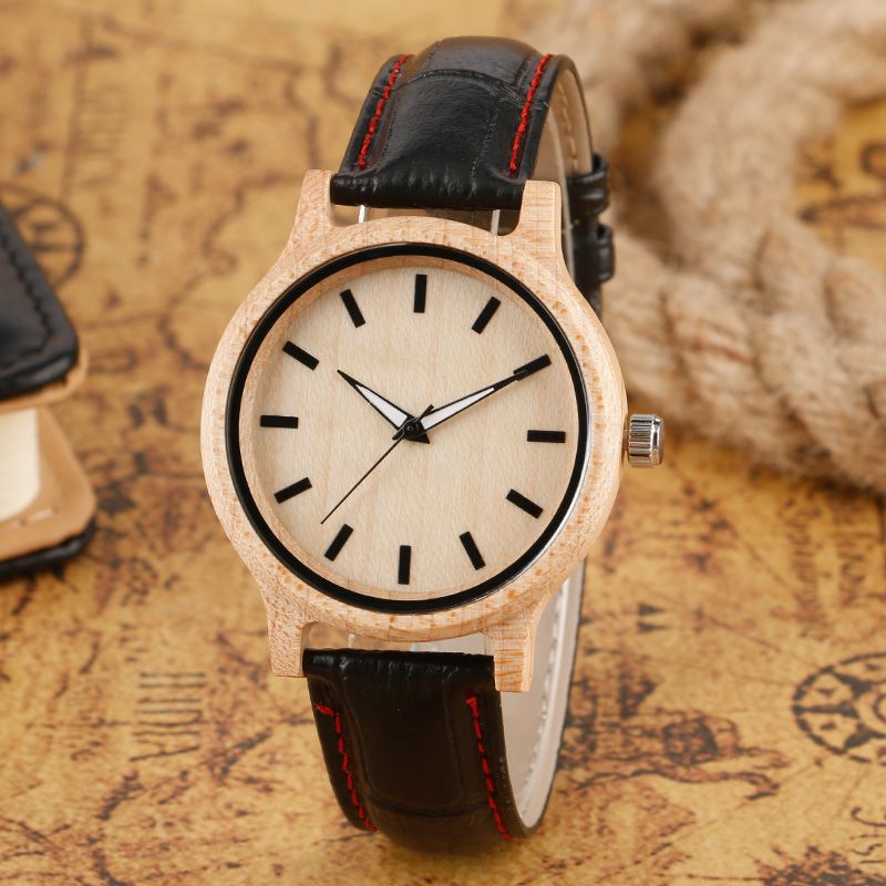 Men's Black Genuine Leather Band Nature Wood Bamboo Watches Creative Light Arce Quartz Wristwatch for Women Reloj de madera