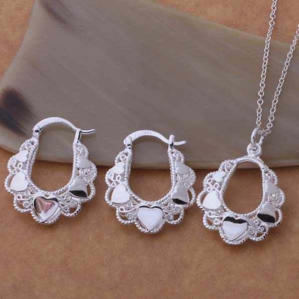 AS349 Lucky Silver Color 925 Jewelry Sets For Women Earring 547 + Necklace 089 /bqfakhma Aofajfma