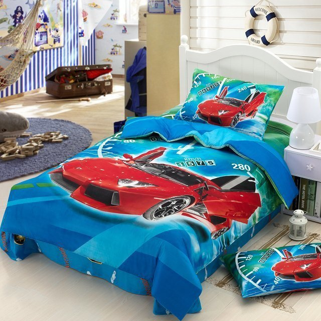 Race Cars Kids Boys Cartoon Bedding Set Children Twin Size