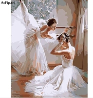 AtFipan Hot Selling DIY Oil Painting by Number Ballet Dancer Wall Art Pictures Hand Painted Colorling by Numbers