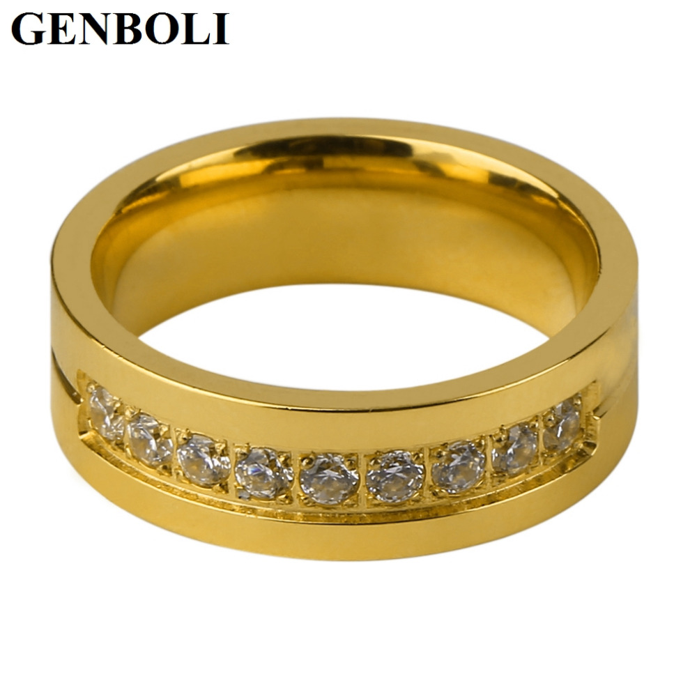 Inventive Genboli Stainless Steel Ring For Women Cubic Zirconia High Polished Ip Gold Plating Ring Wedding Proposal Ring Accessory Jyl Promote The Production Of Body Fluid And Saliva Rings