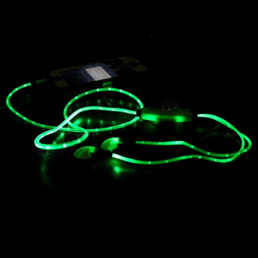 1M Sport Glow In The Dark Stereo Blocking LED Flash Light Earphone Earbud Headset Built in microphone for Xiaomi for Samsung