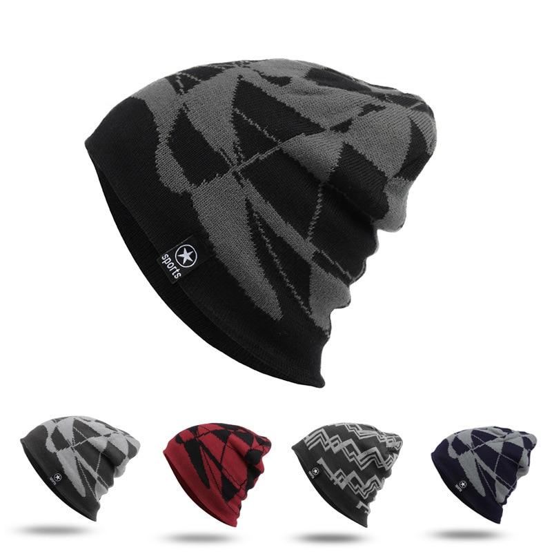 New Korean Top Gorro Beanie Cap Male Warm Knit Winter Hats Skullies Beanies 2016 Fashion Pattern Hat Caps Men 7AA726