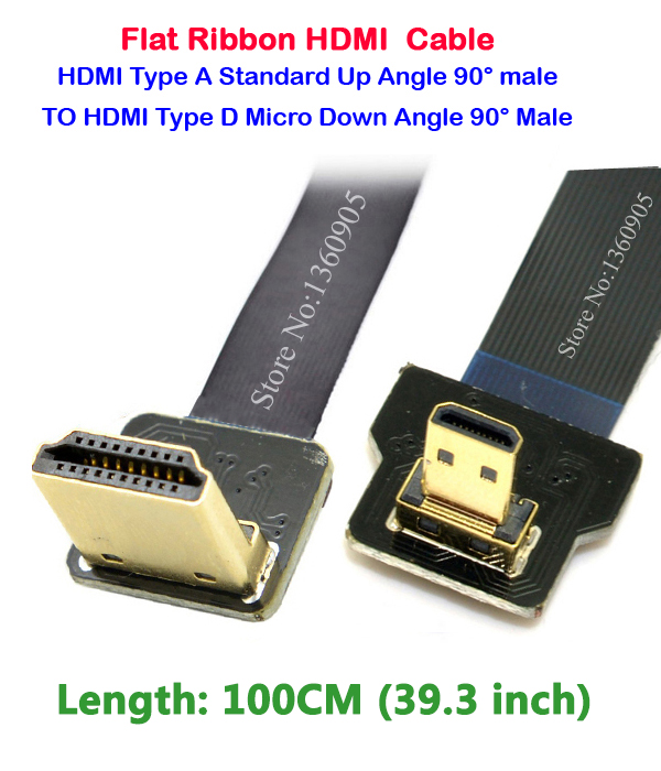 1M High speed Gold Plated Plug Male-Male Right angle 90 Degree HDMI Cable Ribbon Flat line 1080p 3D for GH4 Gopro3 A6000 Z1400 techlink wiresnx2 right angled hdmi a plug to hdmi a plug 3m 710493