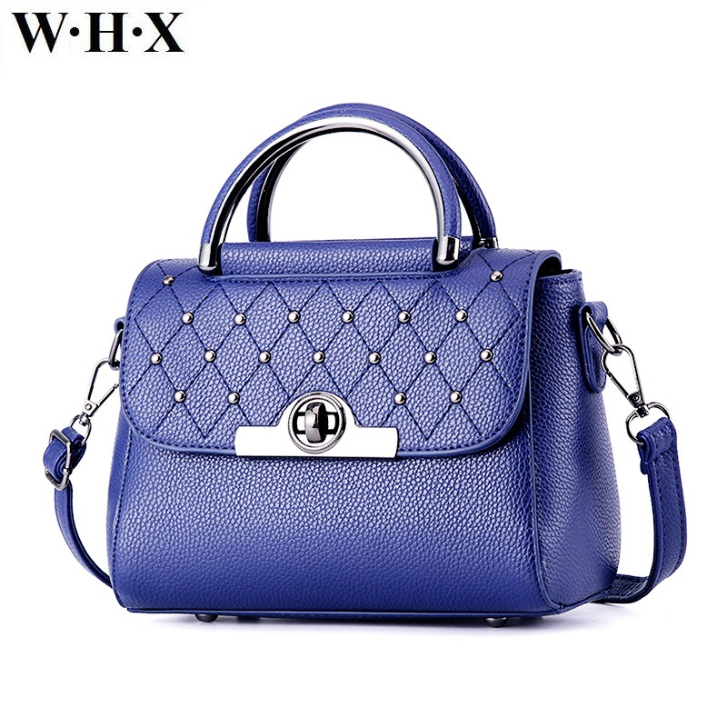 WHX Fashion Casual Women Tote Bag New Style Female CrossBody Bag Shoulder Messenger Bags Female Designer Handbag Blue Pu Leather whx new style casual fashion women tote bag crossbody bag female shoulder messenger bag leather cartoon cat bear sequin handbag