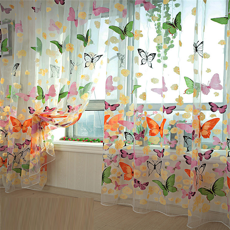 Curtains Room-Divider Window-Panel Bedroom Sheer Living-Room Print Butterfly New