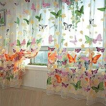 200 см x 100 см, с принтом бабочки, прозрачные оконные панели, занавески, для комнаты, делитель, новинка, для гостиной, спальни, кухни, комнаты