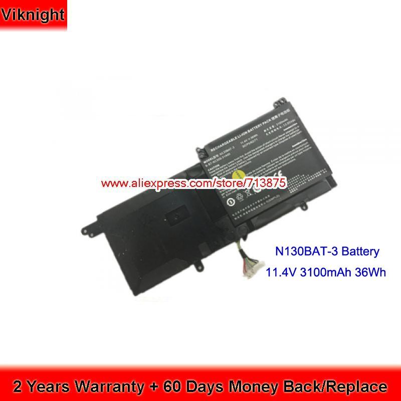 Genuine Clevo N130BAT-3 6-87-N130S-3U9A Battery For N130BU NP3130 genuine n350bat 9 6 87 n350s 4d8 battery for clevo n350bat 9 11 1v 93wh