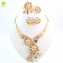 Fashion Jewelry Sets Gold Color Flower-Shaped Crystal Necklace Bange Earrings Ring Jewelry Sets(China)