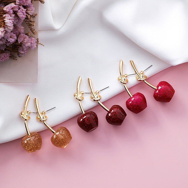 Cute/romantic Round Women Dangle Earrings Sweet Cherry Cherry Earrings Earrings For Women Drops Earrings 2