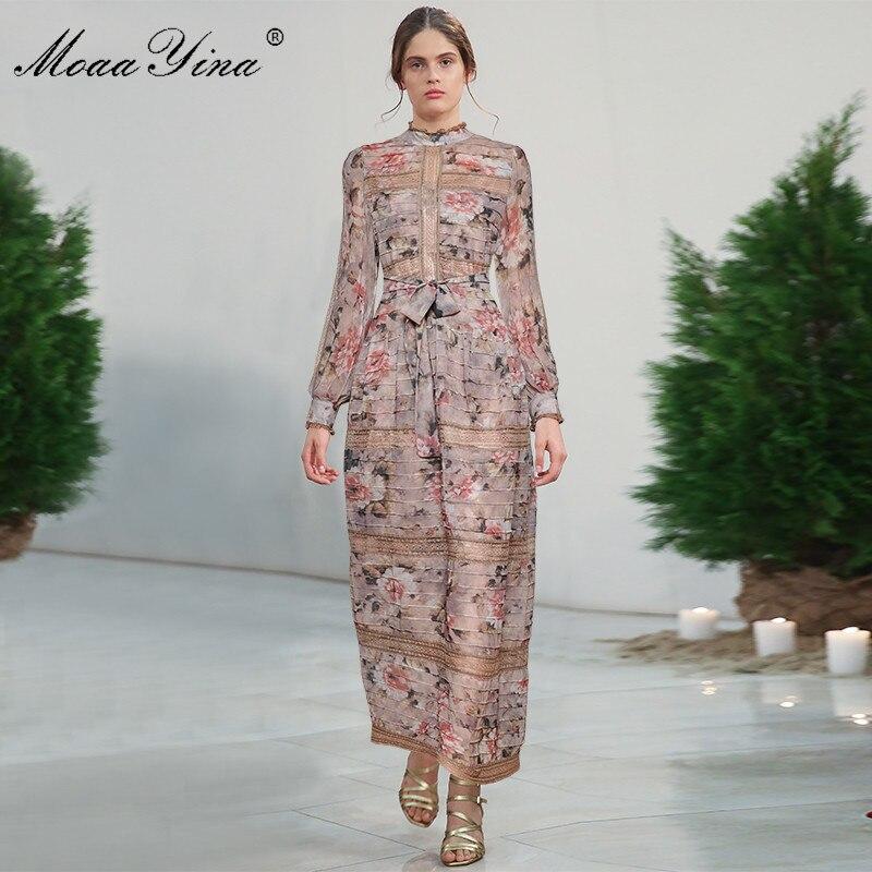 Kadın Giyim'ten Elbiseler'de MoaaYina Moda Tasarımcısı Pist elbise Bahar Kadın Elbise Vintage Baskı Fener Kollu Dantel Patchwork Dantel UP Maxi Elbiseler'da  Grup 3