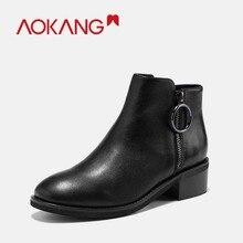 Купить с кэшбэком AOKANG 2018 Winter Boots Women genuine leather Hot style Fashion Martin Boots high quality round toe thick heel shoes woman