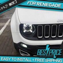 AKD Авто Стайлинг фара для Jeep Renegade- фары светодиодные ходовые огни биксеноновые фары Противотуманные фары ангельские глаза авто