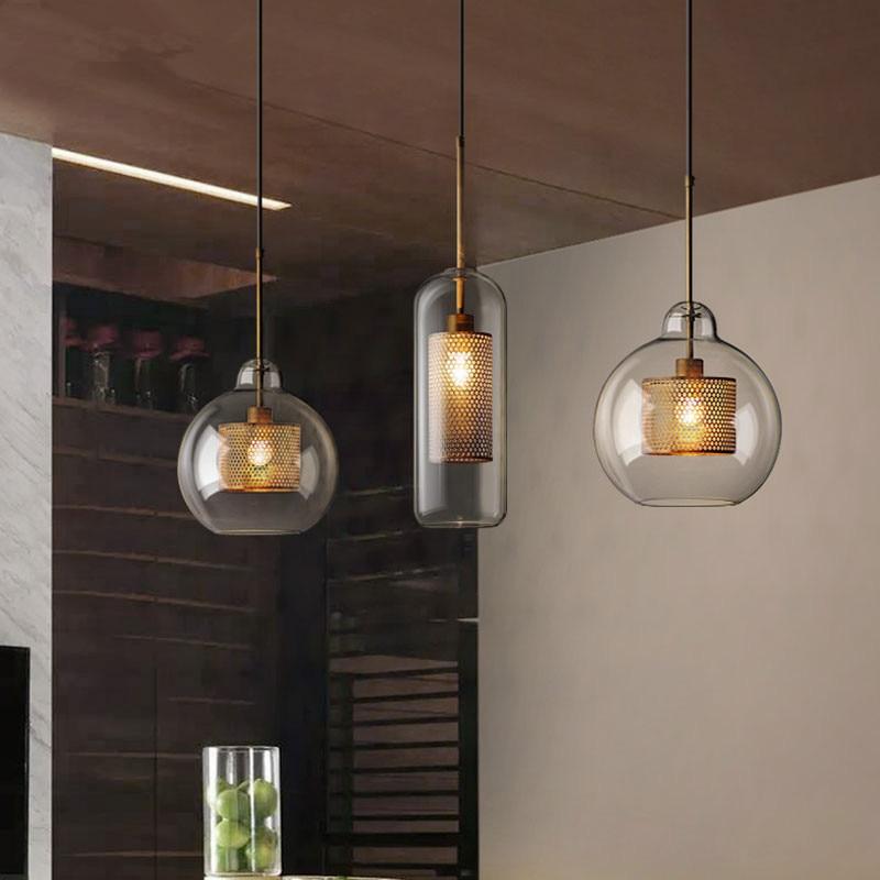 Vintage Glass Led Pendant Lights Nordic Hanging Lamp Living Room Loft Industrial Decor Kitchen Light Fixture Suspension Luminair