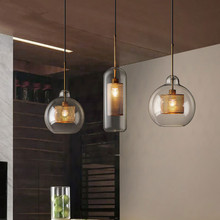 Vintage Glass Led Pendant Lights Nordic Hanging Lamp Living Room Loft Industrial Decor Kitchen Light Fixture Suspension Luminair vintage magic beans round glass ball pendant lights lamp rope living bar hotel industrial led droplight loft dna suspension lamp