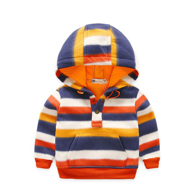 High Quality 2017 Autumn New Style Baby Boys Girls Cotton Long Sleeve Double Deck Stripe Hoodies Pollover Children Clothes T692