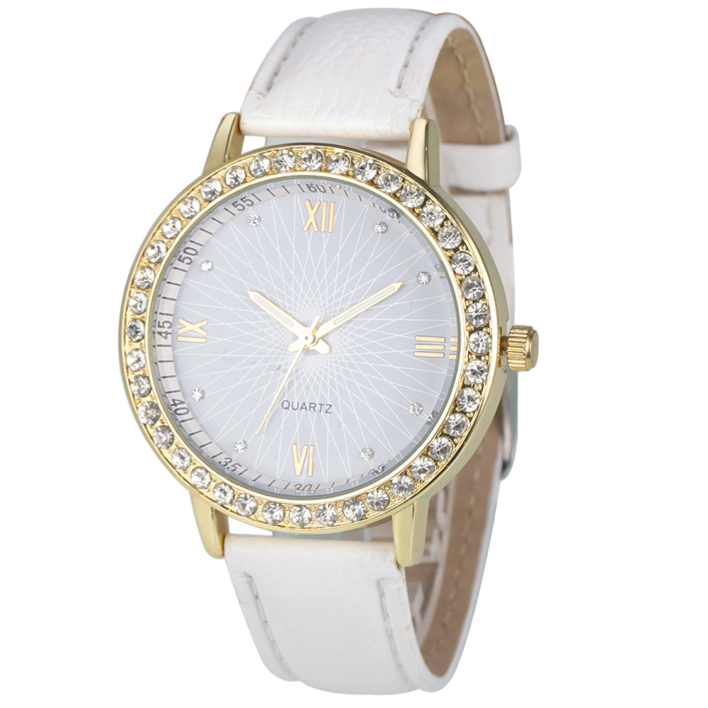Watch Women Watches Rhinestone Relogio Feminino Fashion Crystal PU Leather Analog Quartz Female Clock montre femme relogio feminino fashion women watches quartz retro rainbow design leather band analog alloy quartz wrist watch montre femme
