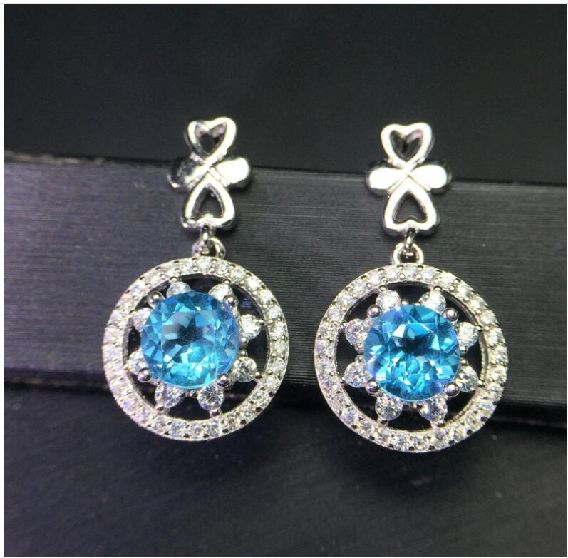 Natural Blue topaz earring Free shipping Natural real Blue topaz 925 sterling silver 7*7mm shdede blue 7