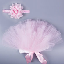 2017 Brand Hot Newborn Pink Tutu Clothes Skirt+Headband 2pcs Lovely Baby Girls Crochet Photo Prop Voile Tulle Skirts Christmas(China)