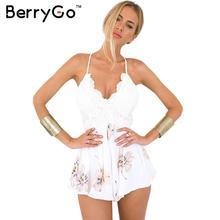 Berrygo Boho Цветочные Белое кружево элегантный комбинезон Сексуальная спинки ремень Летний пляж комбинезон Женщины шифон Короткие Комбинезоны