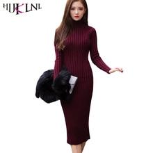 2016 New Fashion Women Winter Sweater Dress Turtleneck Long Sleeve Knitted Dresses Slim Sexy Long Dress Sweaters Pullovers ZJ388
