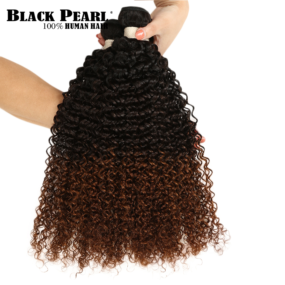 Black Pear 1/3/4Pcs Ombre Brazilian Kinky Curly Hair Bundles Weave Human Hair Extensions 1B/4/30 Brown Remy Ombre Hair Bundles