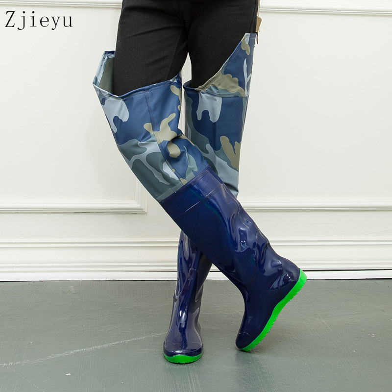 Rain boots men disruptive pattern knee high fishing boots camouflage rubber rainboots asker bot antiskid rubber boots galoshes