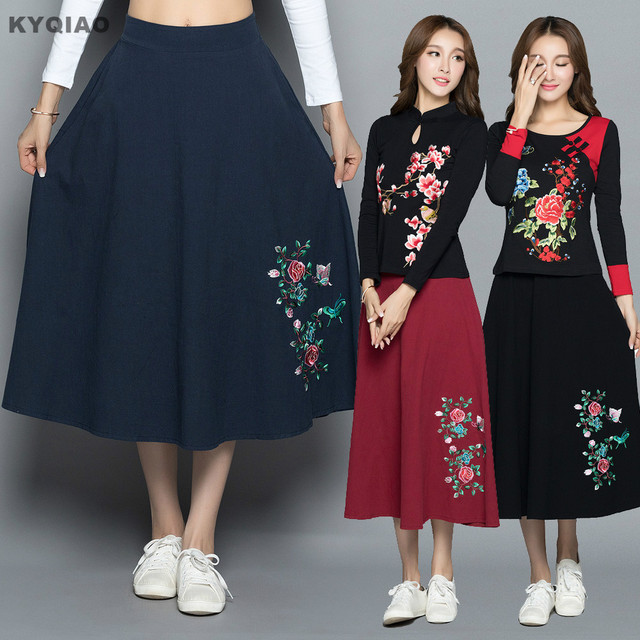 9cfc3efcf7 KYQIAO Ethnic skirt 2019 women autumn Mexico style long dark blue red black  embroidery midi skirt online Chinese store
