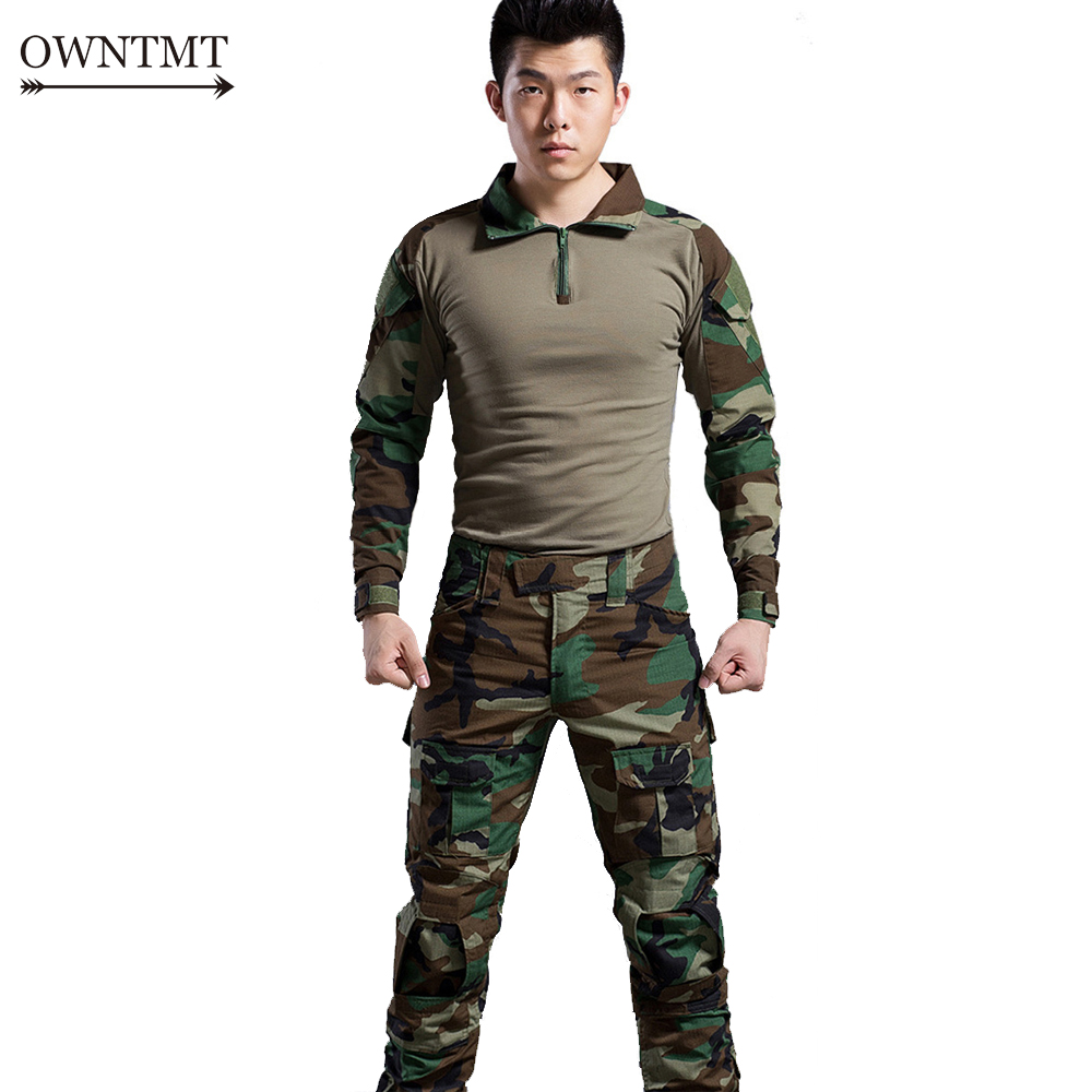 Amicable Men Woodland Hunting Tactical Clothes Airsoft Camouflage Suit Military Paintball Equipment Military Clothes Combat Shirt Uniform