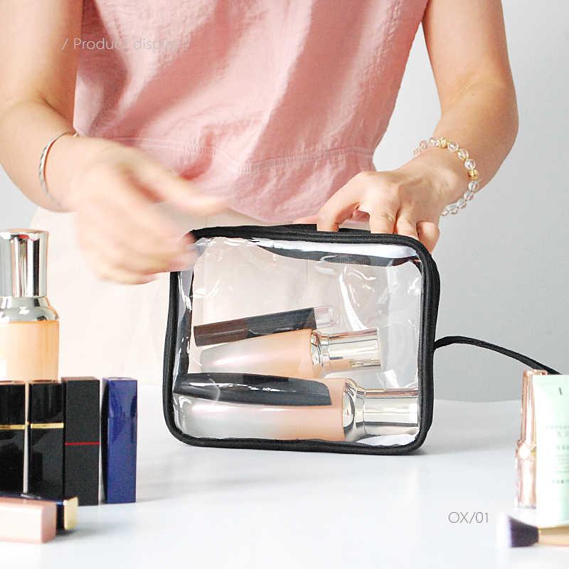 Damskie Wodoodporna kosmetyczka przezroczysty PVC makijaż toaletowe kosmetyczne organizator łazienka Wash Storage Case walizka akcesoria