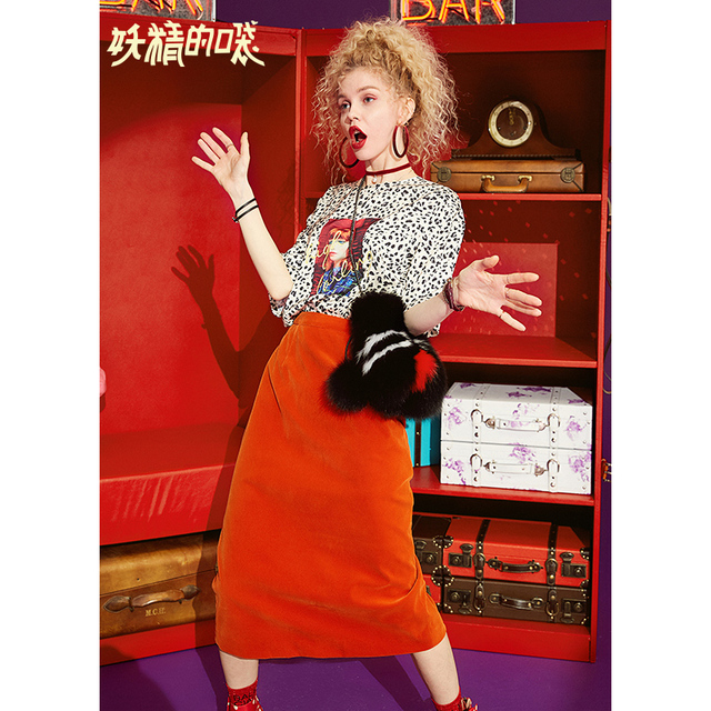 ELF SACK New 2 Pieces Set Woman Dot Casual T-shirt And Mid-Calf Skirt O-Neck Print Women Tees Streetwear Solid Femme Skirt