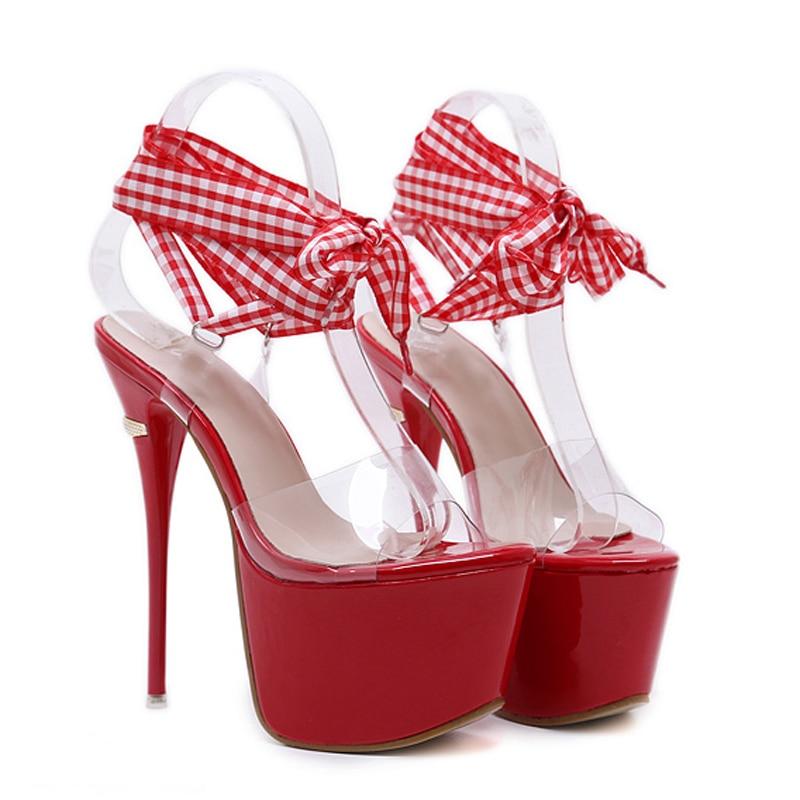 US $23.81 36% OFF|GBHHYNLH Women Sandals Gladiator Party Ankle Strap heels transparent sandals Fetish High heel Pumps lace up Sandals LJA374 in High