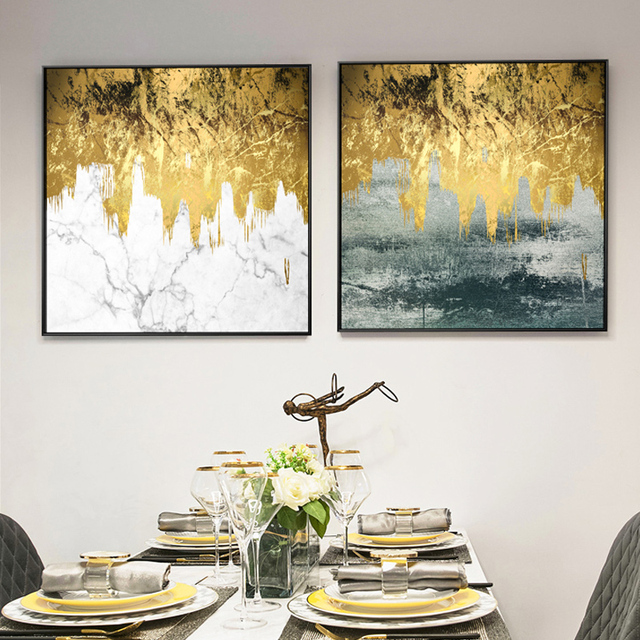 Golden Flowing Paint Canvas Painting Abstract Wall Picture 1