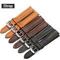 Istrap frança calf leather assista bracelete 18mm a 22mm couro genuíno assistir banda com prata pin buckle para iwc para omega seiko