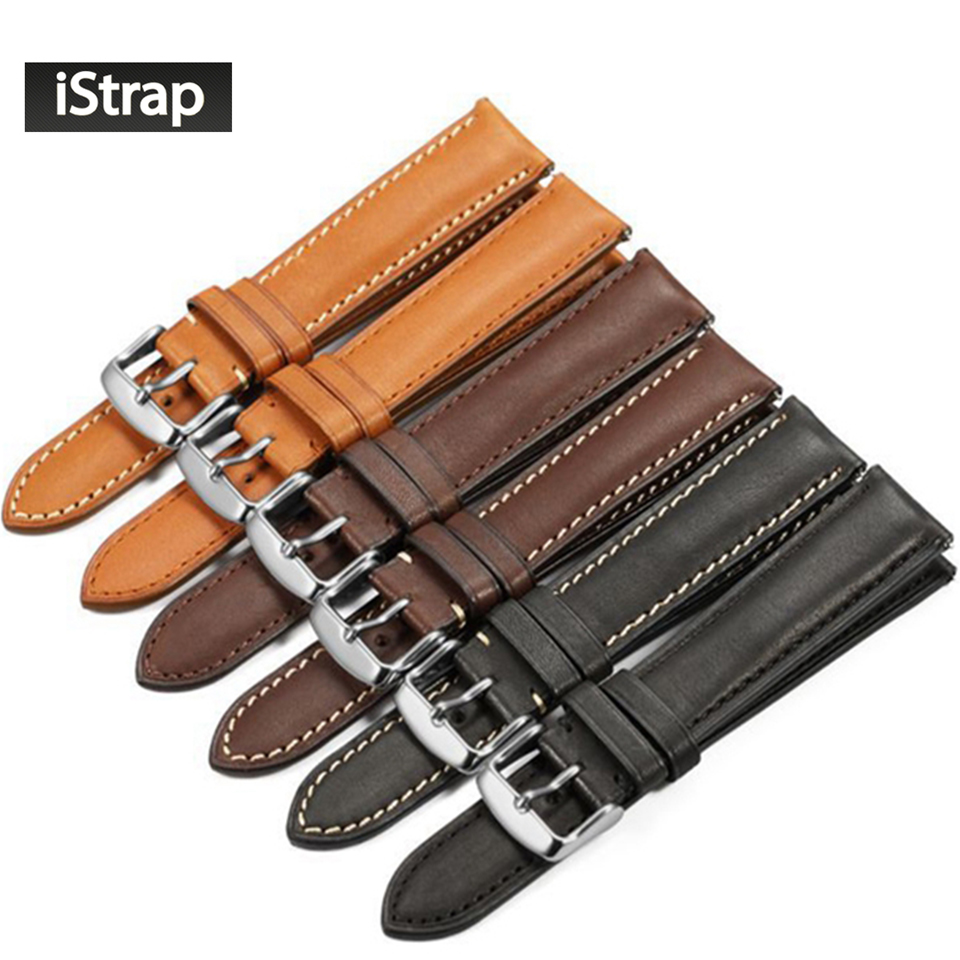 iStrap France calf leather Watch strap 18mm to 22mm Genuine leather Watch band with Silver Pin buckle For IWC For Omega Seiko istrap 22mm handmade genuine calf leather padded replacement watch band for men black 22