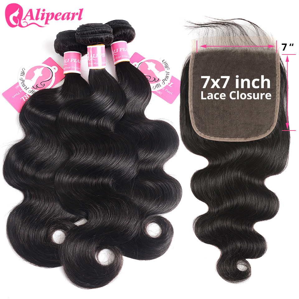 Body Wave Bundles With 7x7 Closure Free Part Brazilian Hair Weave 3 Bundles With Closure Remy Natural Black Color AliPearl Hair