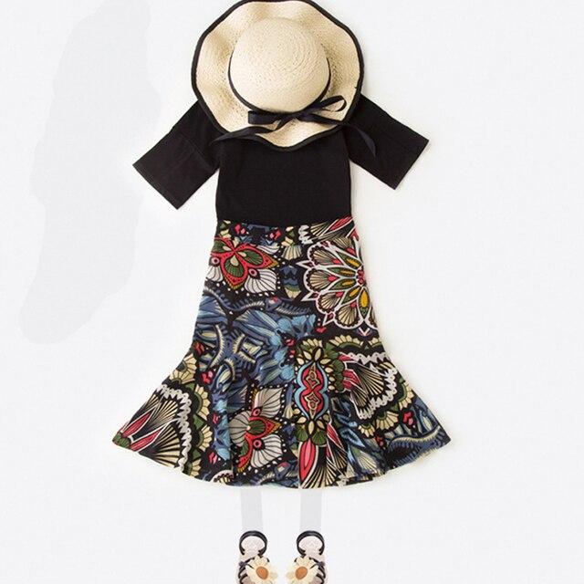 6f02157db9 Moda algodão meninas conjuntos de roupa nova 2017 meninas de verão roupas  ternos preto camiseta e