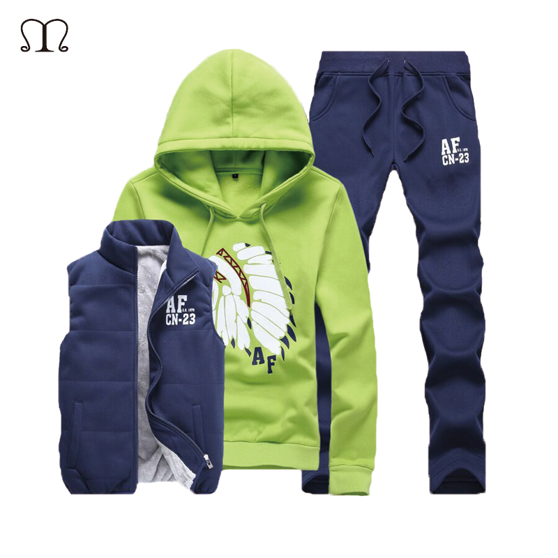 Three-Piece Sweat Suit Tracksuit Men Winter Fleece Hoodies Men Tracksuit Set Jacket Vest Pants Men Clothing Set Sweat Homme