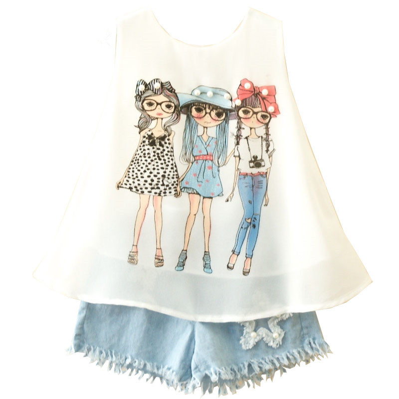 Summer Girls Clothing Sets New Fashion Cartton Chiffon Vest T shirts Tops And Shorts Suit Kids Baby Clothes Set For 2-6 years letter print o neck collar short sleeve t shirts rose white shorts girl sets 2017 summer small kids new fashion for girls sets