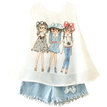 hot deal buy summer girls clothing sets new fashion cartton chiffon vest t shirts tops and shorts suit kids baby clothes set for 2-6 years