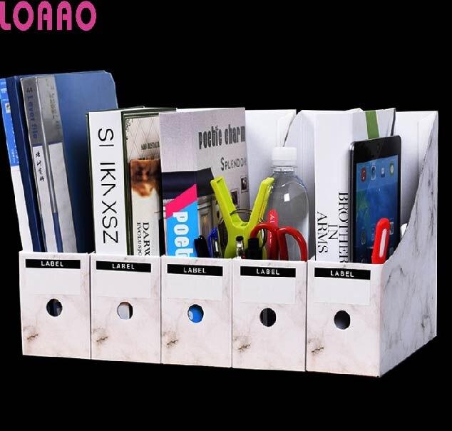 LOAAO Eco Friendly Cardboard table organizer box office file box holder book storage box Home Storage Organization Home Office Storage     - title=