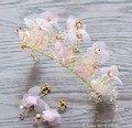 Корея Розовый Белый Цветок Свадебный Имитация Перл Корона Сплава Ювелирные Изделия Волос Свадебные Аксессуары Coroa де noiva bijoux de тете