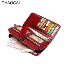 Fashion Women wallets Genuine Leather Wallet Lady long zipper Clutch Leather Purse for iphone 5 5S 6 6S 6Plus with hand strap